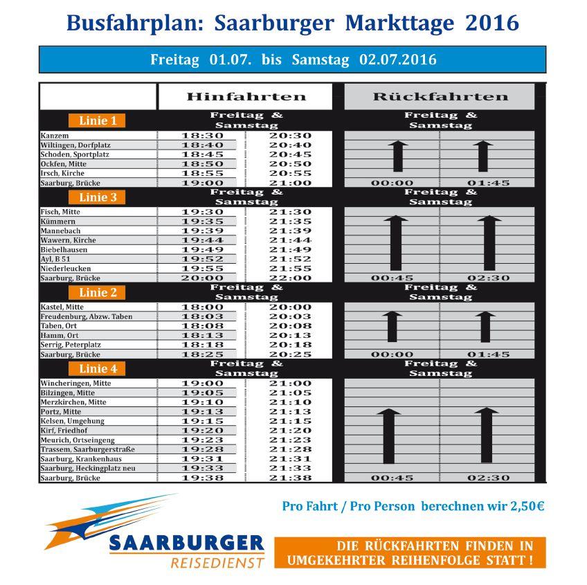 Busfahrplan Saarburger Markttage