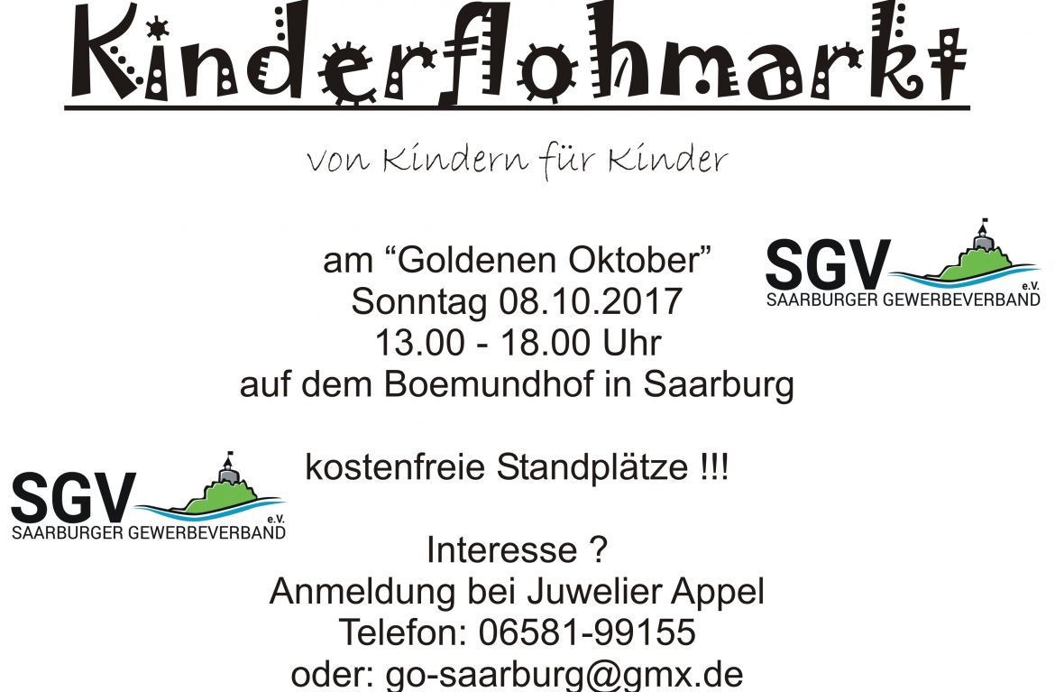 Kinderflohmarkt am Goldenen Oktober 2017 in Saarburg
